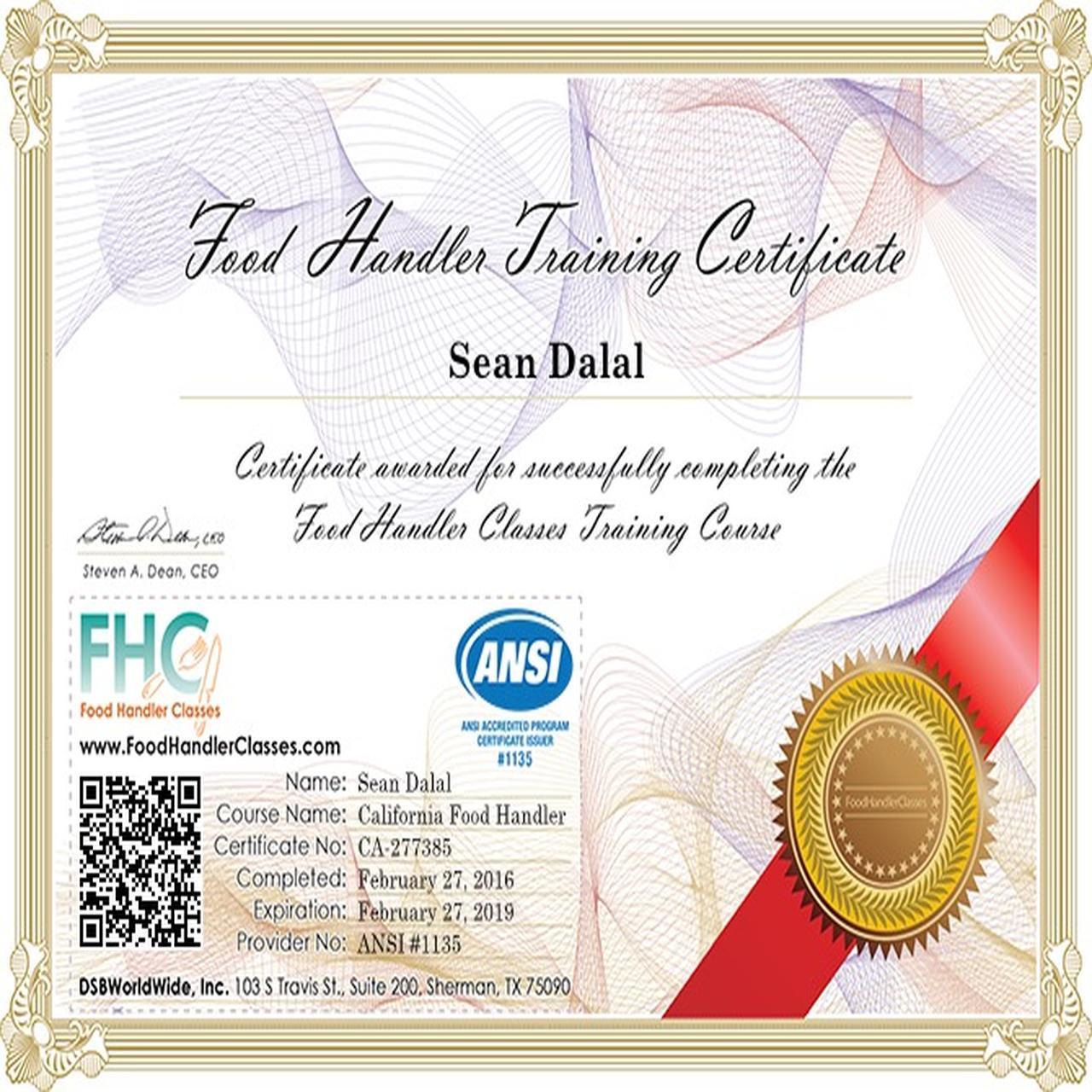 California food handler certificate harri 1betcityfo Gallery